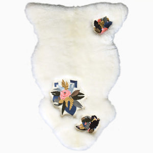 Floral Embroidered Sheepskin