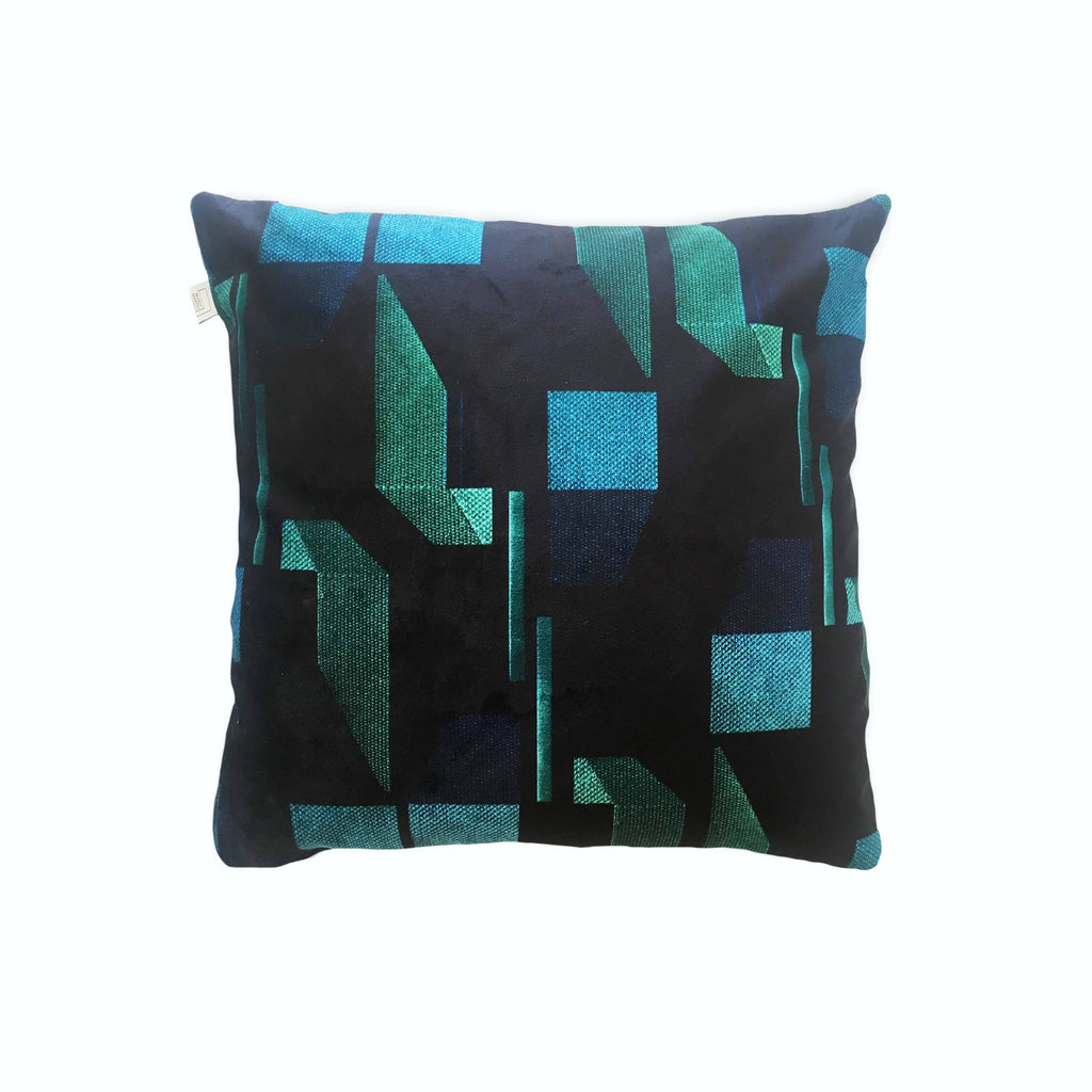 Green and Navy Patterned Velvet Cushion