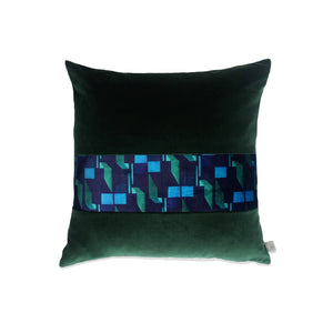 Green and Navy Striped Velvet Cushion