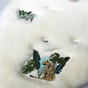 Jungle Embroidered Sheepskin