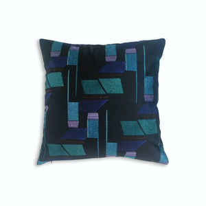 Navy and Purple Patterned Velvet Cushion