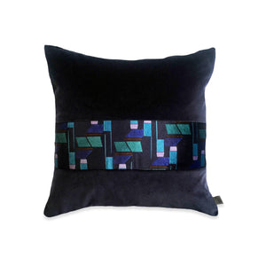 Navy and Purple Striped Velvet Cushion