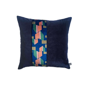 Navy and Pink Striped Velvet Cushion