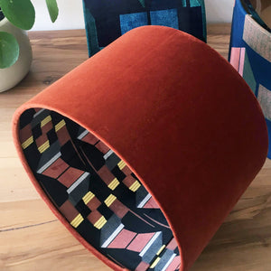 Yellow and Burnt Orange Patterned Velvet Lampshade