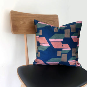 Pink and Green Patterned Velvet Cushion