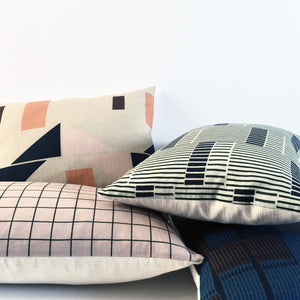 Concrete Stripe Linen Cushion Bark & Petrol