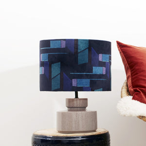Navy and Purple Patterned Velvet Lampshade