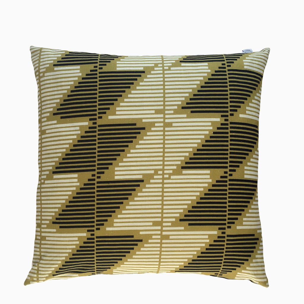 Stripe Story Linen Cushion Navy & Ochre