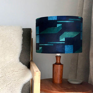 Green and Navy Patterned Velvet Lampshade