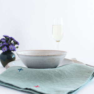 Embroidered X Linen Napkins