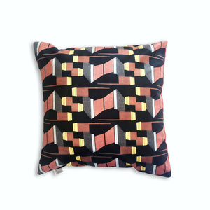 Yellow and Burnt Orange Patterned Velvet Cushion