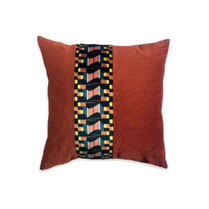Yellow and Burnt Orange Striped Cushion