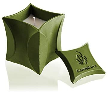 Candellana Candles Candlefort Concrete Candle- Modern II- Olive, Scent: Lemongrass