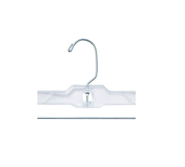 "NAHANCO 600RCLHHU Heavy Weight Plastic Skirt/Slack Hangers, Long Hook with Chrome Padded Clips, 14"", Clear (Pack of 25)"