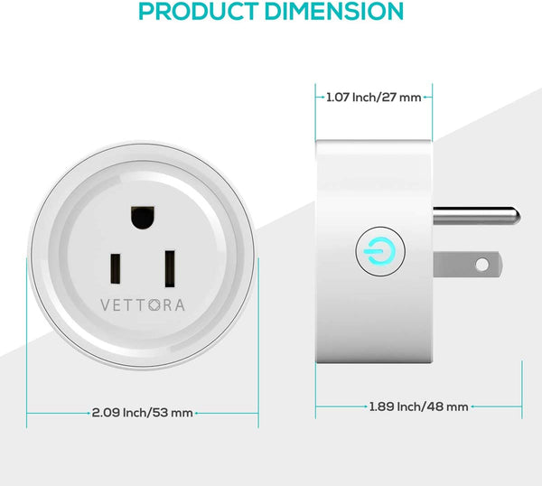 Smart Plug Vettora Wifi Enabled | Safe Smart Plug Wifi, Control Your Device From Everywhere | Small And Powerful Plug Wifi, Customize Schedule For Daily Uses (2 Packs)