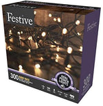 Festive Christmas String Lights, Battery Operated Timer LED, Warm White, 300 bulbs