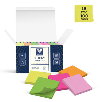 Vettora Self-Sticky Note Pad, 3x3 inch |12 pads/Pack| 5 Fluroscent Bright colors