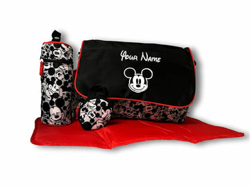 Disney Minnie Mouse 4 pieces Baby Diaper Bag with Flap - 18 inch