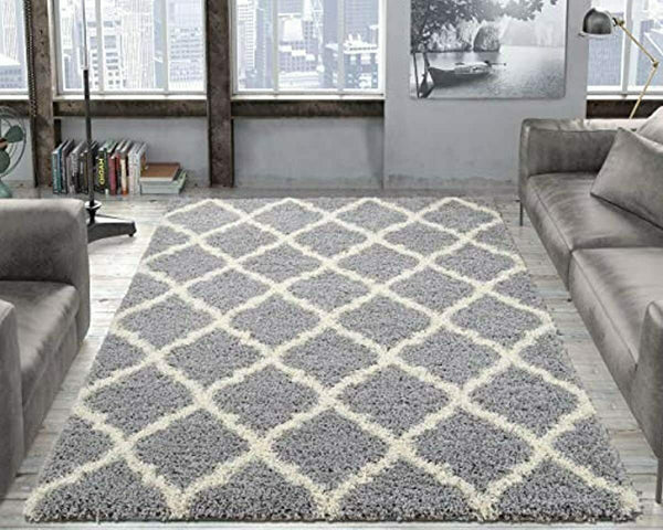 "Ottomanson Collection shag Trellis Area Rug, 6' 7"" x 9' 3"" - Gray"