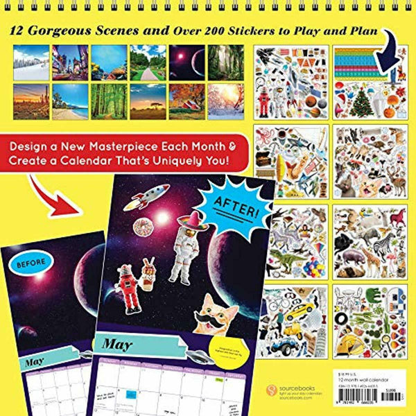 2019 Stick This!(TM) Wall Calendar: 12 Unique Scenes; Over 200 Stickers; 365 Day