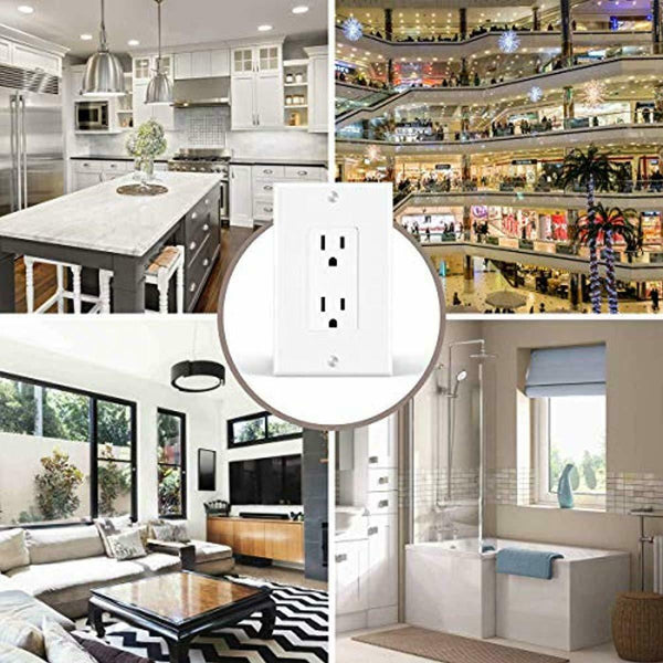 Vettora SR-1 Gang Outlet Covers, White Wall Plates Light Switch Power Plug Cover