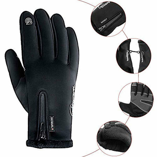 RIGWARL Cycling Gloves for Men,Winter Touch Screen Gloves with Waterproof, X-L