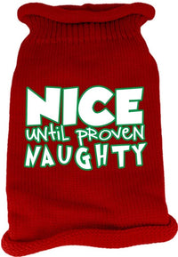 Mirage Pet Products 621-19 XXLCR Nice Until Proven Naughty Screen Print Knit Cream Pet Sweater, XX-Large