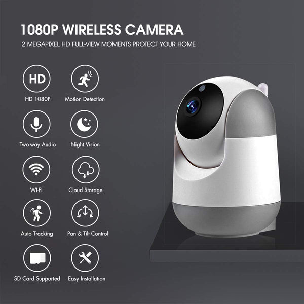 WiFi IP Camera 1080P FHD with Smart Night Vision Motion Detection/2 Way Audio/Pan/Tilt/Zoom 2.4Ghz Wireless Home Security Surveillance Dome Camera for Baby,Pet,Elder,Nanny Monitor