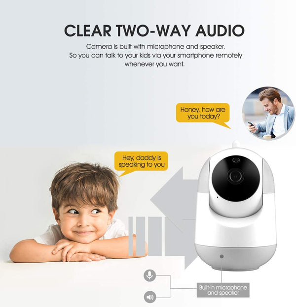 WiFi IP Camera 1080P FHD with Smart Night Vision Motion Detection/2 Way Aud