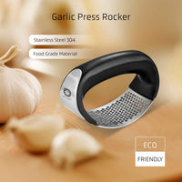 Vettora Garlic Press Rocker Crusher - Stainless Steel Food Grade Chopper Miner Perfect Mincer Squeezer Slicer w Silicone Peeler