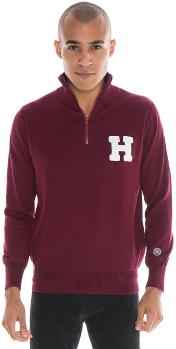 Alma Mater NCAA Harvard Crimson Men's Quarter Zip Sweater