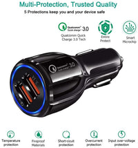 Dual USB Car Charger, SHOCKTU Car Charger Qualcomm Quick Charger 3.0 Car Charger, Quick Fast Charger 30W 3.1A 2V/24V for iPhone Samsung Galaxy S10 S9 S8 Plus S7 Note9 iPhone 11-Black