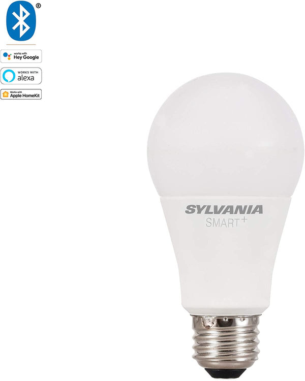 SYLVANIA SMART+ Bluetooth Soft White Dimmable A19 LED Light Bulb, 60-Watt Equivalent, Works with Amazon Alexa, the Google Assistant, and Apple HomeKit, No Hub Required