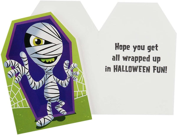 Hallmark Halloween Cards Assortment for Kids, Monster and Mummy (6 Cards with Envelopes)