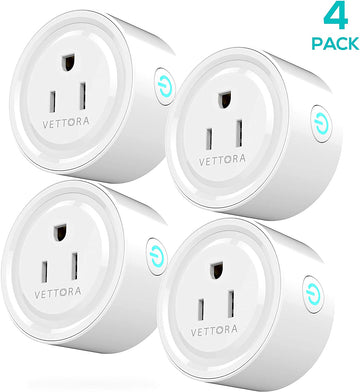 Smart Plug Vettora Wifi Enabled | Safe Smart Plug Wifi, Control Your Device From Everywhere | Small And Powerful Plug Wifi, Customize Schedule For Daily Uses (4 Packs)
