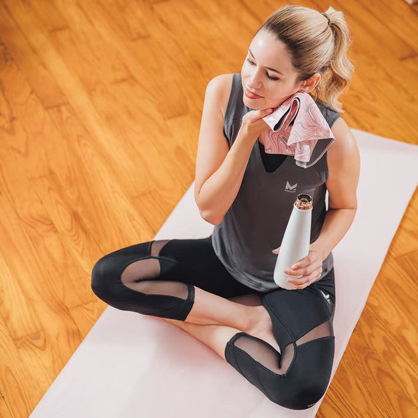 "Mission VaporActive Yoga Hand Towel (Pack 2), Glaze Quartz Pink/Solid Charcoal, 10"" x 16.5"""