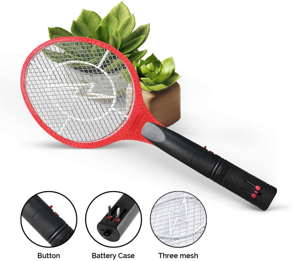 Vettora Electric Fly swatter Swatter 3 Layer Rechargeable | Bug Zapper - Best High Voltage Handheld Mosquito Killer | Wasp, Fly, Insect Trap Racket for Indoor (Not Hollow Out Red)