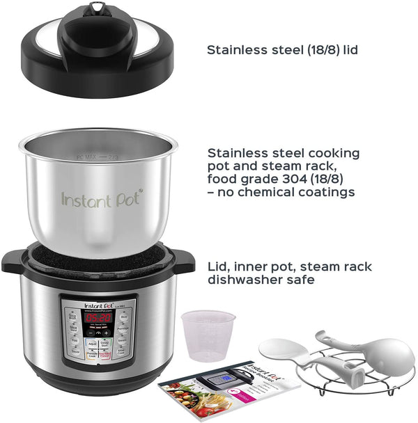 Instant Pot Lux Mini 6-in-1 Electric Pressure Cooker, Sterilizer Slow Cooker, Rice Cooker, Steamer, Saute, and Warmer, 3 Quart, 10 One-Touch Programs