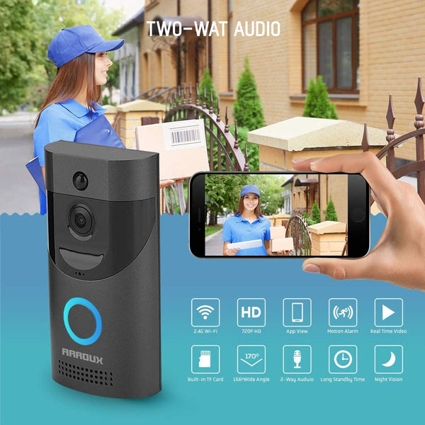 Video Doorbell,Arroux Wireless Smart WiFi Video Doorbell 720P | HD WiFi Doorbell Wireless Front Door Camera | Operated with Motion Detector Audio&Speaker (Black)