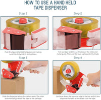 Vettora Adhesive Tape Dispenser With Ergonomic Handle With Light Weight Industrial Side Loading Tape Dispenser For Shipping Packing