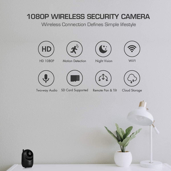 WiFi IP Camera 1080P FHD with Smart Night Vision Motion Detection/2 Way Audio/Pan/Tilt/Zoom 2.4Ghz Wireless Home Security Surveillance Dome Camera for Baby,Pet,Elder,Nanny Monitor (Black)
