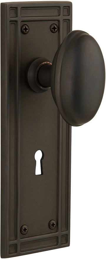 Nostalgic Warehouse Mission Plate with Keyhole Homestead Knob, Double Dummy, Oil-Rubbed Bronze