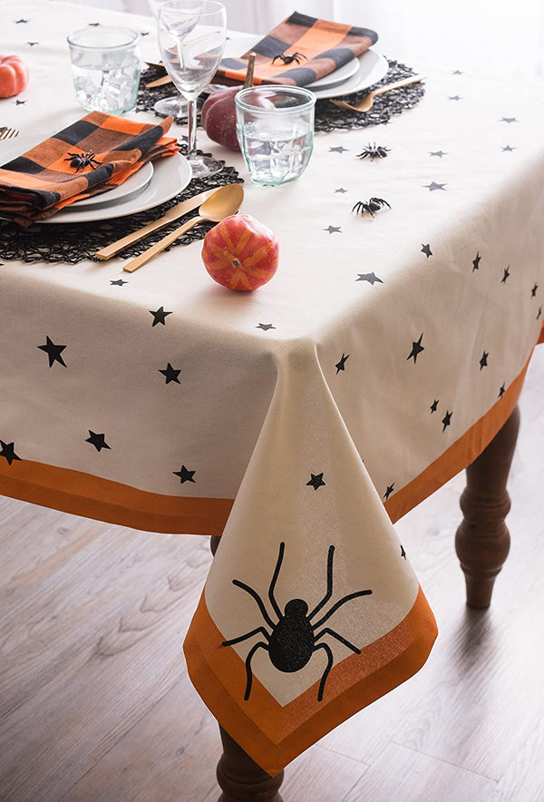 "DII 60x104"" Rectangular Cotton Tablecloth, Black Stars - Perfect for Halloween, Dinner Parties and Scary Movie Nights"