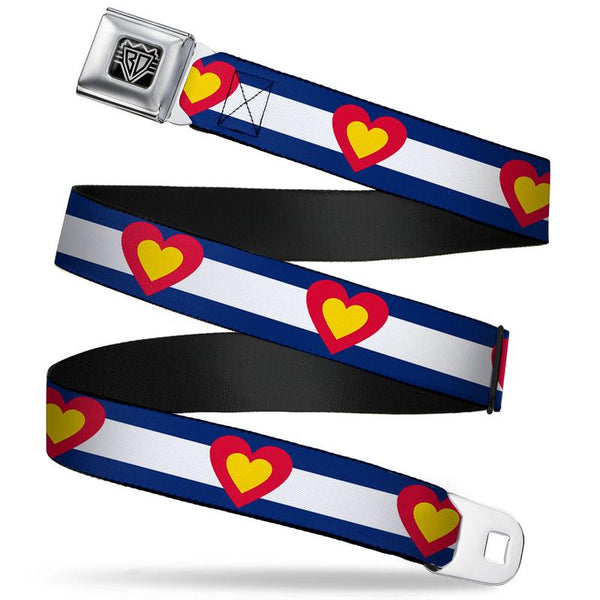 Buckle-Down Seatbelt Belt - Colorado Heart Blue/White/Red/Yellow
