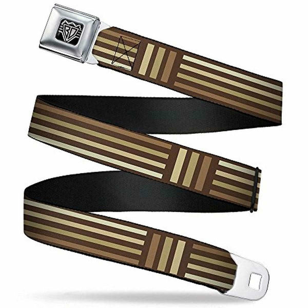 "Buckle-Down Unisex-Adult's Seatbelt Belt Stripes Regular, Blocks Browns, 1.5"" Wide-24-38 Inches"