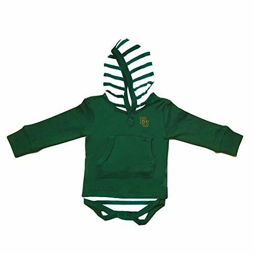 Two Feet Ahead NCAA Baylor Bears Children Unisex Stripe Hooded Creeper