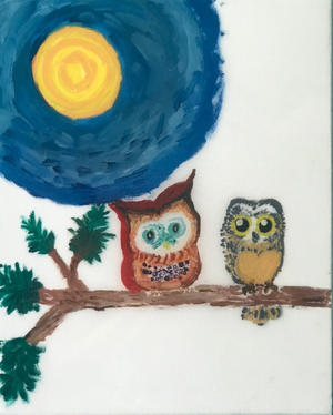 Owls On Branch Painting