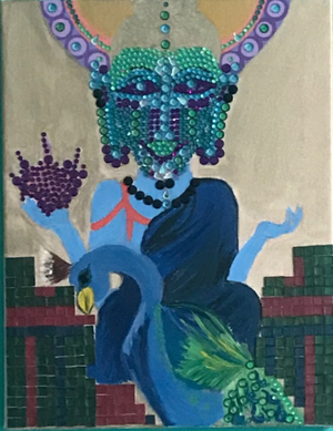 Jeweled Buddha Peacock Painting