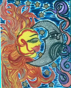 Sun and Moon Abstract Painting