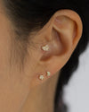 14k Mini Diamond heart Barbell Ear Stud